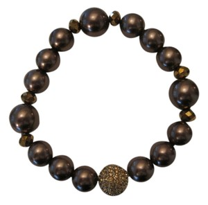 Charter Club CHARTER CLUB GOLD TONE BROWN IMITATION PEARL AND PAVE CRYSTAL BALL STRETCH BRACELET