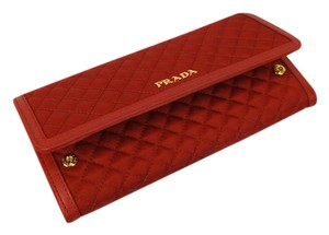 f08be031177a Prada FUOCO RED QUILTED NYLON LEATHER CONTINENTAL WALLET w/ID HOLDER
