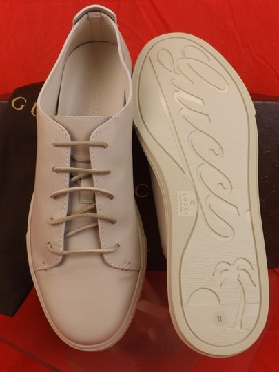 Gucci White Hysteria Mens Mystic Leather Lace Logo Sneakers 11 12 342038 Shoes