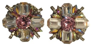 Pink Goddess Elegant Eighties Vintage Clip-On Earrings [ Roxanne Anjou Closet ]