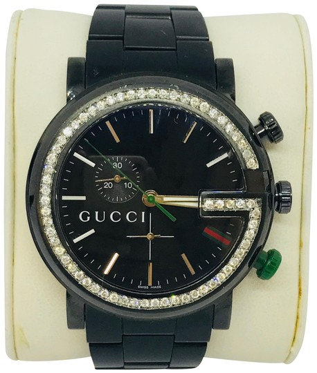 Preload https://img-static.tradesy.com/item/21609223/gucci-black-13ct-101g-ya101331-diamond-dial-stainless-steel-men-watch-0-8-540-540.jpg