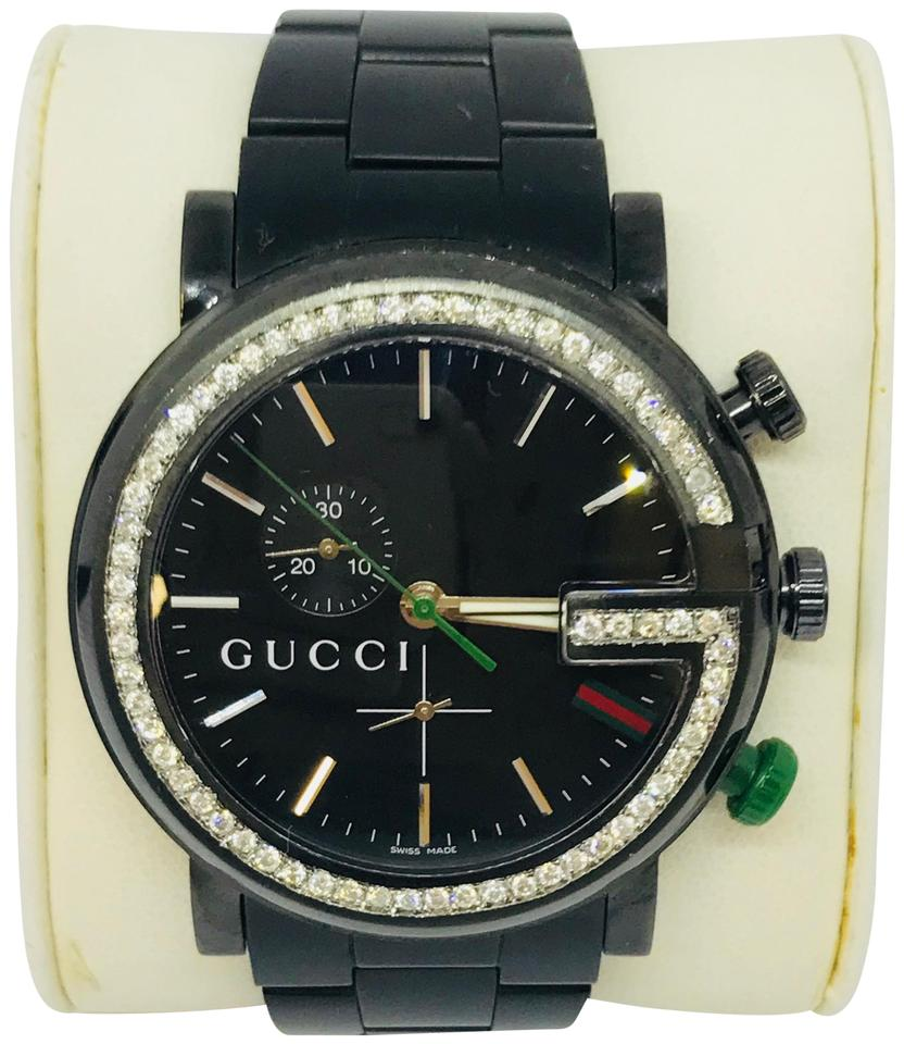 62402054264 Gucci Black 1.3ct 101g Ya101331 Diamond Dial Stainless Steel Men Watch