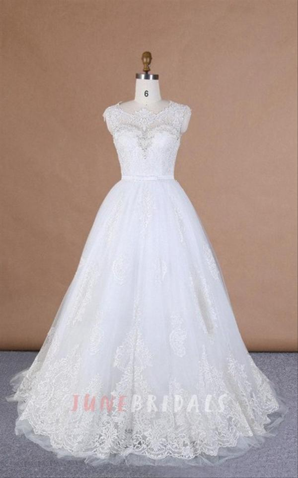 White Tulle Lace Satin Ball Gown With Traditional Wedding Dress Size ...