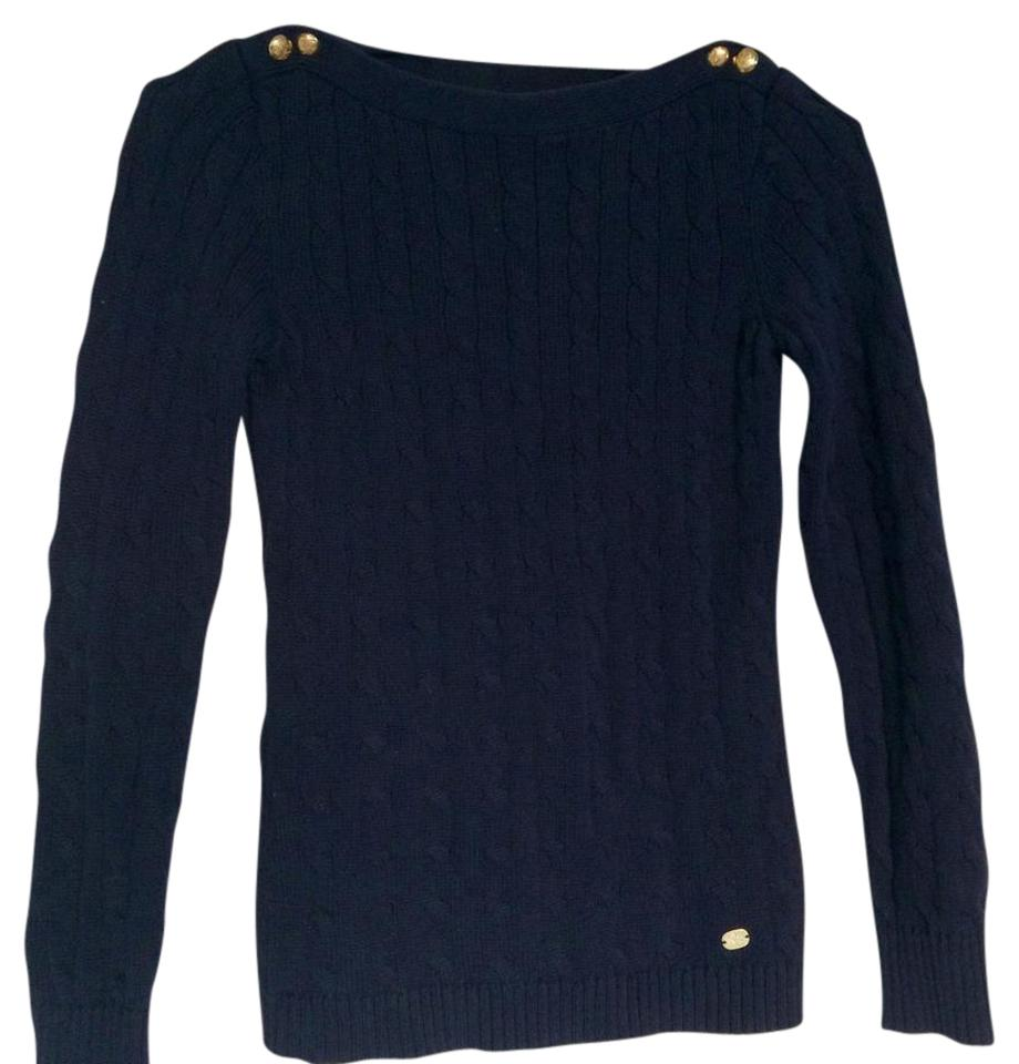 b75ae5e7148a Lauren Ralph Lauren Cable Knit Boatneck Navy Sweater - Tradesy