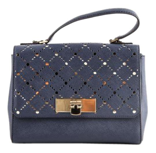 Preload https://img-static.tradesy.com/item/21609543/michael-kors-callie-navy-blue-satchel-0-1-540-540.jpg