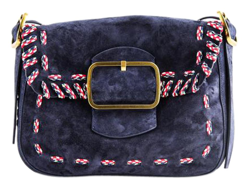 2248030767e0 Tory Burch Sawyer Stitch Navy Blue Suede Leather Shoulder Bag 36% off retail