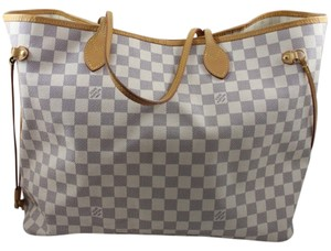 97f5630bf80 Louis Vuitton Damier Azur Neverfull Gm Monogram Tote in White and Blue
