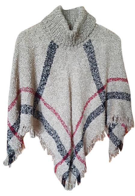 Preload https://img-static.tradesy.com/item/21609959/tan-with-red-and-black-stripes-ponchocape-size-8-m-0-1-650-650.jpg