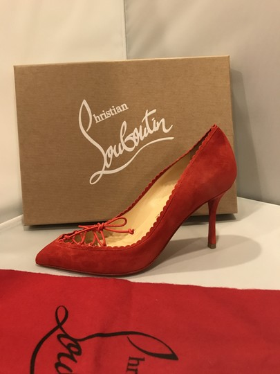 Christian Louboutin Scalopump Suede Red Bow Heels Fraise (red) Pumps