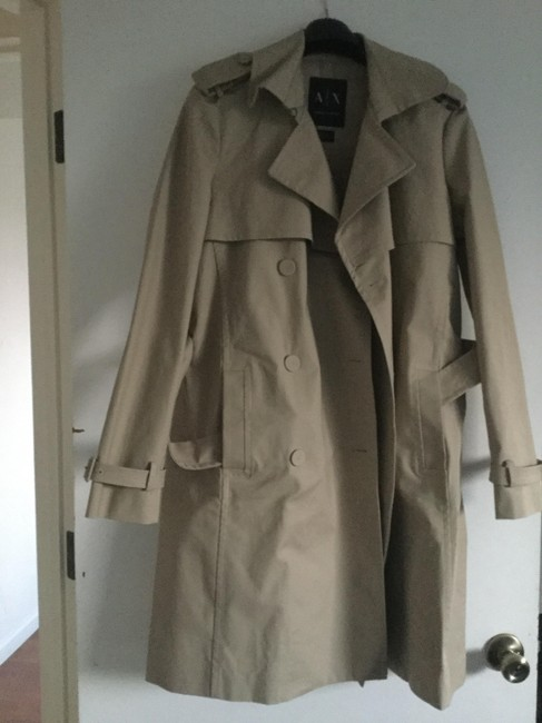 A|X Armani Exchange Raincoat Designer Trenchcoat Sand Jacket