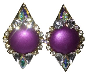 Purple Jeweled Elegant Eighties Vintage Clip-On Earrings [Roxanne Anjou Closet ]