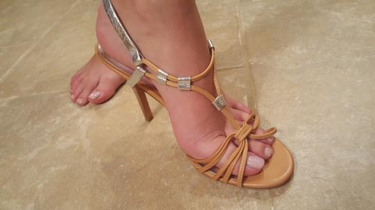 Coach Strappy tan with silver accents Pumps