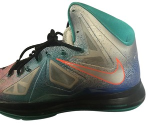 Nike Lebron X Pure Platinum/Turquoise Gray and Rose Athletic
