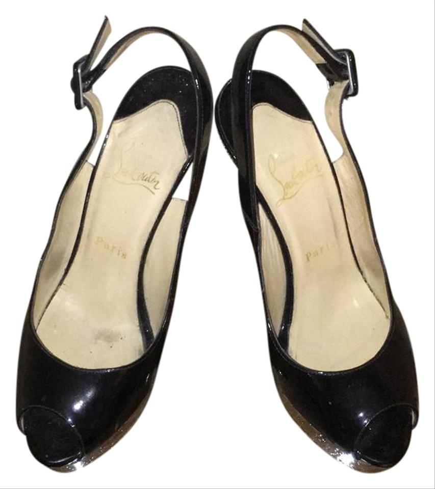 outlet store a0478 d8a89 Christian Louboutin Black Patent Peep-toe Slingback 37.5 Wedges Size US 7.5  Regular (M, B) 38% off retail
