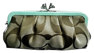 Other Coach Coach Crystal Detail Crystal Closure Crystal Python Python Trim Python Monogram Canvas Khaki Brown Tan Seafoam Green Clutch