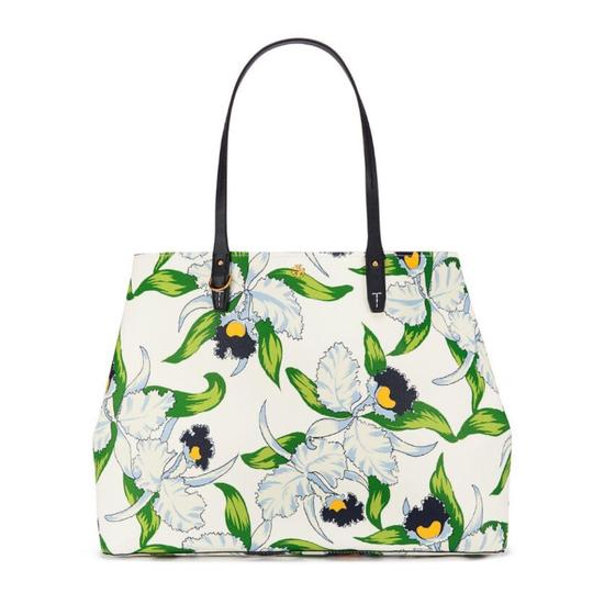 Preload https://img-static.tradesy.com/item/21610547/tory-burch-kerrington-square-laguna-green-navy-floral-coated-white-canvas-tote-0-0-540-540.jpg