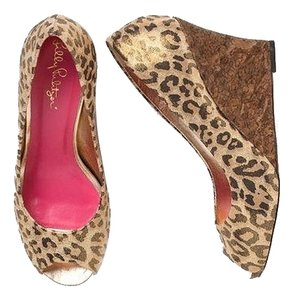 Lilly Pulitzer Metallic Animal Print Print Gold Leopard Resort Wedge Wedges