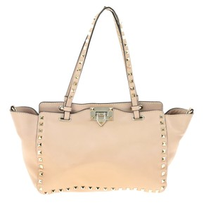 Valentino Leather Nude Tote in Pink