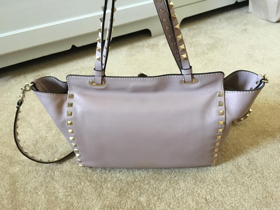 Leather Rockstud Nude Tote Trapezeleather Poudre Small Valentino BfPnXB