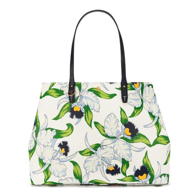 Item - Kerrington Square Tote Laguna Navy Green Floral Coated Iris Floral White Canvas Beach Bag