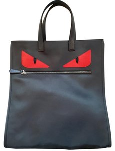 Fendi Monster Nylon Tote in Black with red