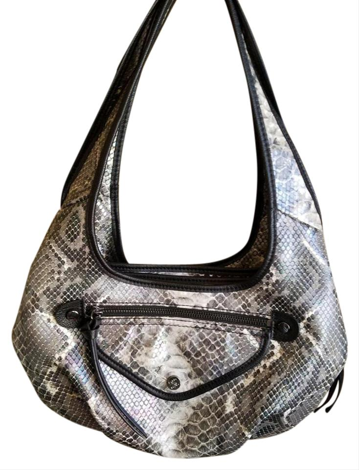 5591bfe7b953 Simply Vera Vera Wang Snake Skin Black Purple Faux Leather Hobo Bag ...