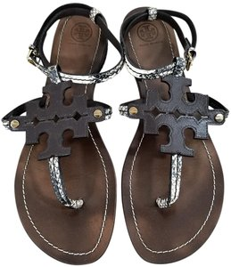 1807087ce95051 Tory Burch Brown Chandler Snake Embossed Leather Sandals Size US 11 ...