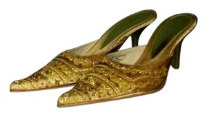 Nine West Brown Beaded Gold and Bronze Mules
