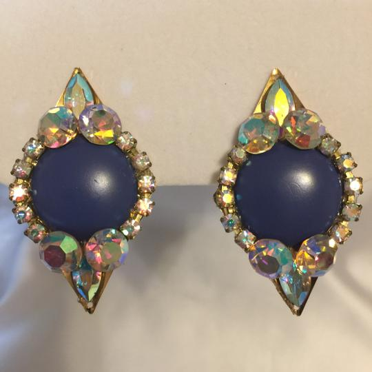 Other Blue Jeweled Elegant Eighties Vintage Clip-On Earrings [Roxanne Anjou Closet ]