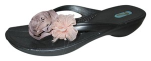OKA b. Thong Jelly Rubber Floral Flowers grey Sandals