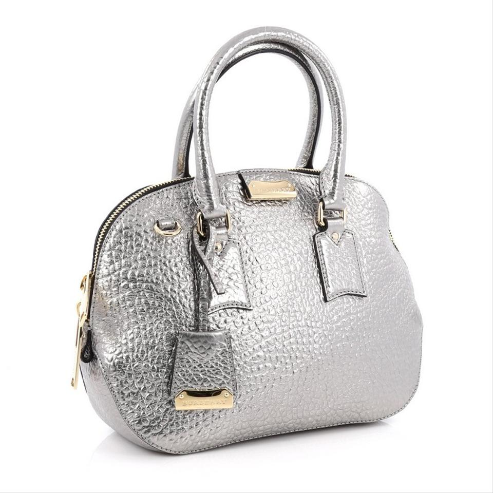 ddbdbc61327b Burberry Orchard Heritage Grained Small Silver Leather Satchel - Tradesy