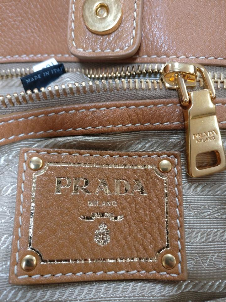 Excellent Large Leather Tan Bag Logo Condition Strap Prada Single Hobo Jacquard gEnxX8wSwq