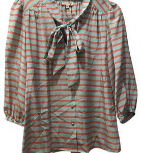 Annie Griffin Top turquoise and pink stripe