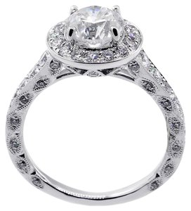 White Gold 1.50 Cts Round Cut Set In 18kw Vintage Setting Engagement Ring