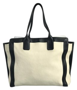 Chloe Leather Tote in Cream and black