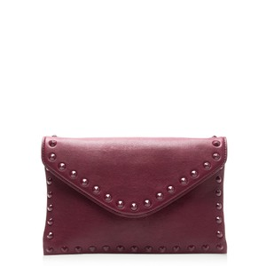 J.Crew Studded Leather Envelope Burgundy / Cranberry Clutch