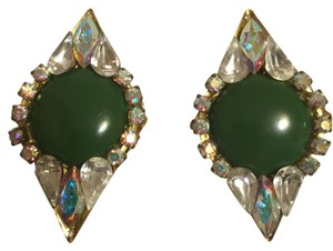 Green Jeweled Elegant Eighties Vintage Clip-On Earrings [Roxanne Anjou Closet ]