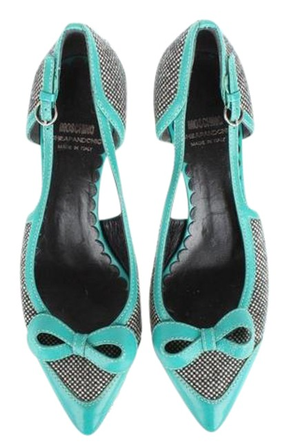 Moschino Multicolor W Stylish Turquoise Leather with Fabric Blocks Sz.37 W/Bow Pumps Size US 7 Regular (M, B) Moschino Multicolor W Stylish Turquoise Leather with Fabric Blocks Sz.37 W/Bow Pumps Size US 7 Regular (M, B) Image 1