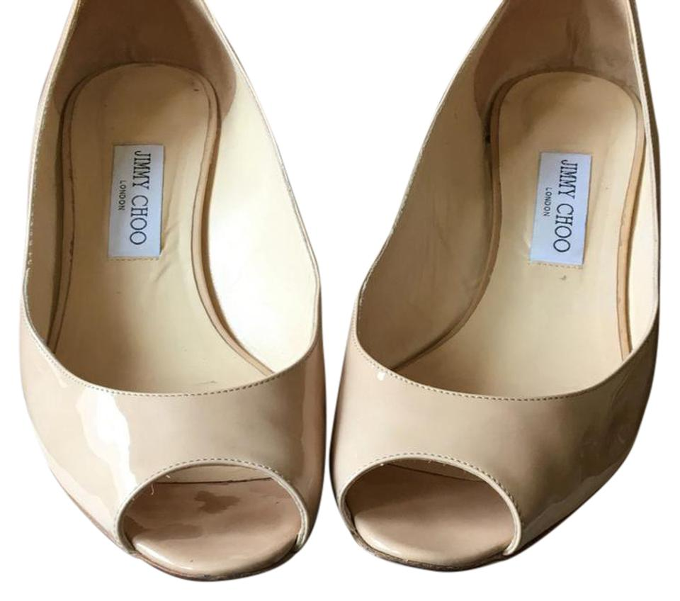 42e84265d5 Jimmy Choo Patent Leather Nude 247 Bergen Wedges. Size: US 11 Regular ...