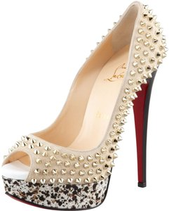 Christian Louboutin Stone Ivory Peep Toe Stiletto Lady Lady Peep Platform Spike Studded Gold Hardware Gold 150 150 Mm Beige Pumps