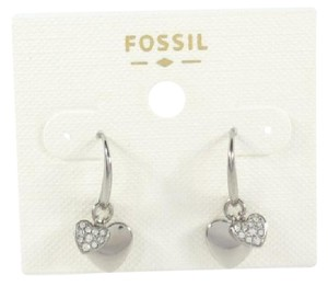 Fossil Fossil Double Heart Charms Pave crystals Silver Tone Earrings
