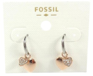 Fossil Fossil Double Hearts Charms Pave crystals Rose Gold Tone Earrings