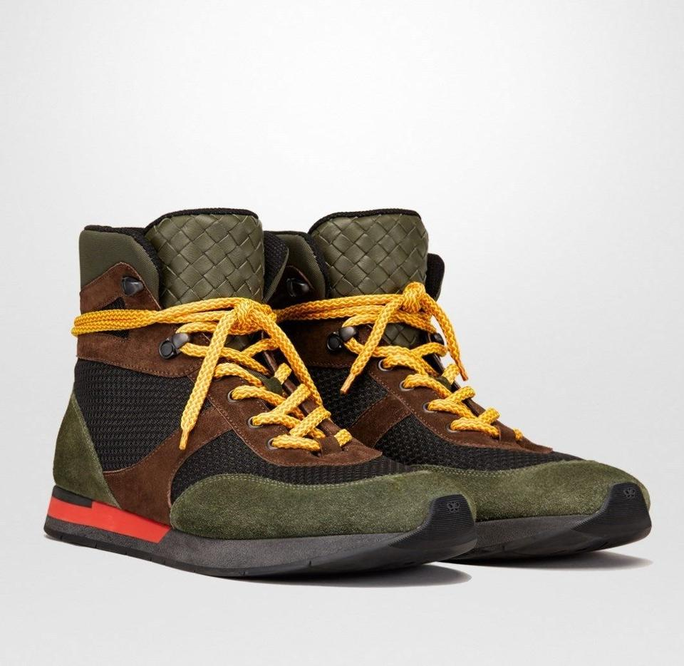 promo code 659ea f2eb4 Bottega Veneta Green/Brown/Black Suede Leather Mesh High Top Sneaker 41 /  Us 8 417024 3364 Shoes 57% off retail