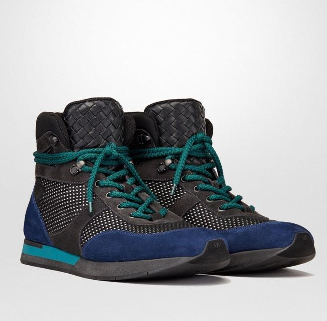 Item - Black/Blue/Neon Blue Suede Leather High Top Sneakers 39.5 / Us 6.5 417024 8796 Shoes