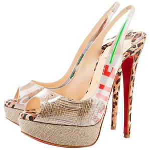 Christian Louboutin Khaki Ecotrash Platform Print Sling Slingback Stiletto Peep Toe Multi-color Pumps