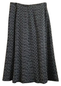 Max Mara Lined Hidden Zipper Maxi Skirt Black and White Jacquard
