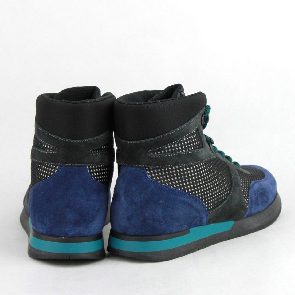 18cb9e8f4f00 Bottega Veneta Black Blue Neon Blue Suede Leather High Top Sneakers ...