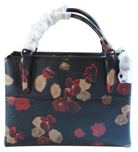 Item - Borough Small Turnlock In Floral Print #33623 Black Multi Textured Leather Satchel