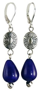 Handmade New Sterling Silver Grecian Jade Earrings