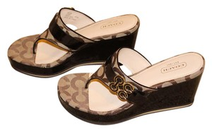 Coach Patent Leather Brown Sandals